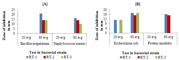 Antibacterial activity of Benzothiazole against [A] Gram-positive bacteria and [B] Gram-negative bacteria in DMF