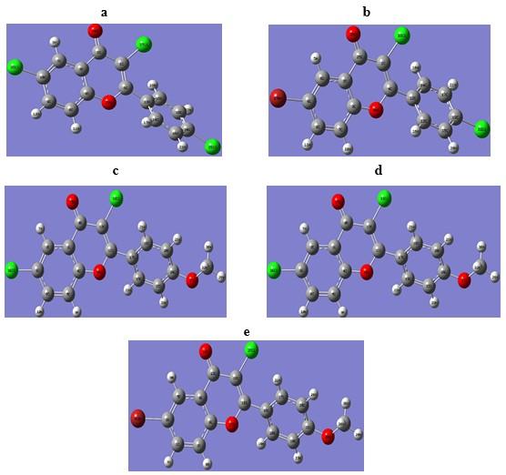 DFT Optimized geometries of compounds using B3LYP/ 6-311++G(d,p) basis set.