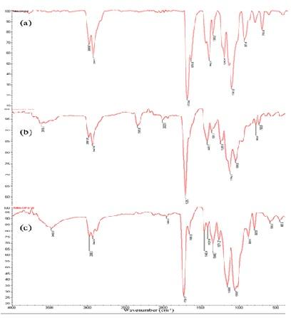 (a, b, c). FTIR spectra of pure PMMA, PMMA/CAP 50/50 blend and  pure CAP.