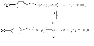 The  polymer supported reagent reacts with a molecule of 1-Phenylethanol to form a  chromate ester.