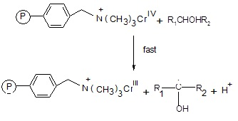 The  intermediate chromium (IV) thus reacts with another alcohol molecule to produce  a free radical species.