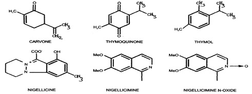 Other chemical Structures of some major compounds isolated from N. sativa