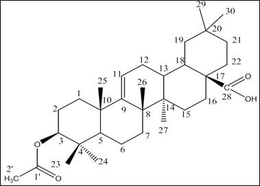 Structure of 3-acetoxy Olean-9(11)-en-28-oic acid.